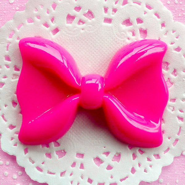 Hot Pink Bowtie Cabochon Giant Bow Tie Cabochon (60mm x 43mm / Flatback) Big Sweet Lolita Cabochon Kawaii Decoration Decoden Piece CAB054