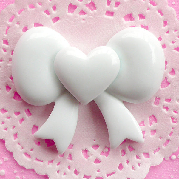 Heart Ribbon Cabochon Big Decoden Cabochon Resin Applique (59mm x 49mm / White / Flatback) Kawaii Cell phone Deco Bow Embellishment CAB034