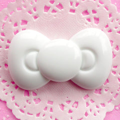 Kawaii Bow Cabochon Large Bowtie Cabochon (60mm x 36mm / White / Flatback) Cute Scrapbooking Resin Decoden Cabochon Bow Tie Applique CAB055