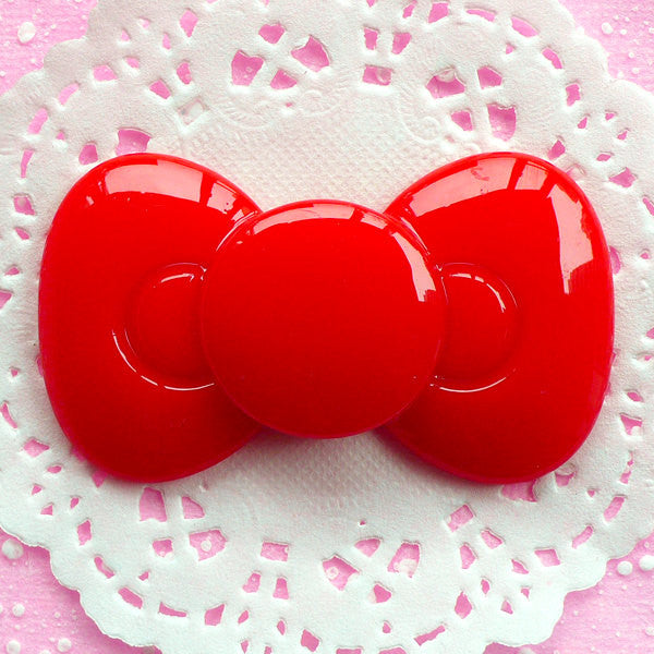 Bow Tie Cabochon Big Bowtie Cabochon (60mm x 35mm / Red / Flat Back) Kawaii Embellishment Decoden Phone Case Cute Lolita Decoration CAB050