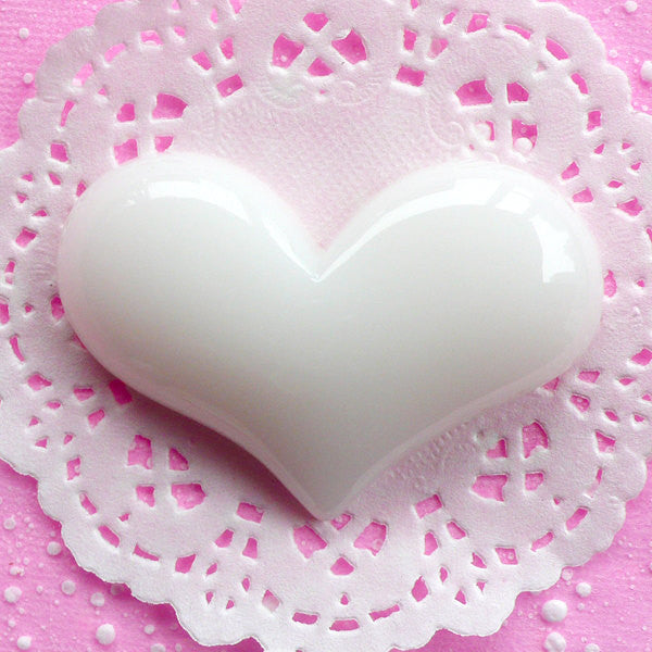 Heart Cabochon Jumbo Decoden Piece Big Kawaii Cabochon (65mm x 44mm / White / Flat Back) Giant Puffy Heart Applique Love Decoration CAB060