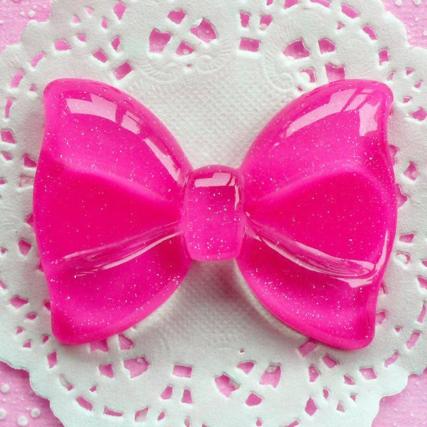 Kawaii Cabochon Bow with Glitter / Large Glitter Bow Tie Cabochon (60mm x 44mm / Dark Pink / Flat Back) Jumbo Decoden Piece Scrapbook CAB040