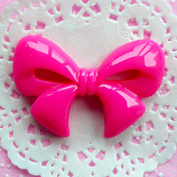 Kawaii Ribbon Cabochon Flatback Bow Cabochon Jumbo (60mm x 39mm / Dark Pink) Big Decoden Cabochon Cute Decoration Japan Lolita Style CAB023