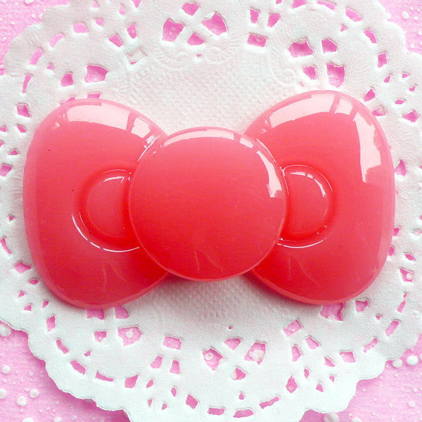 Decoden Bow Cabochon Kawaii Bow Tie Cabochon (65mm x 38mm / Milky Pink / Flat Back) Sweet Lolita Jewelry Making Phone Case Decoration CAB056