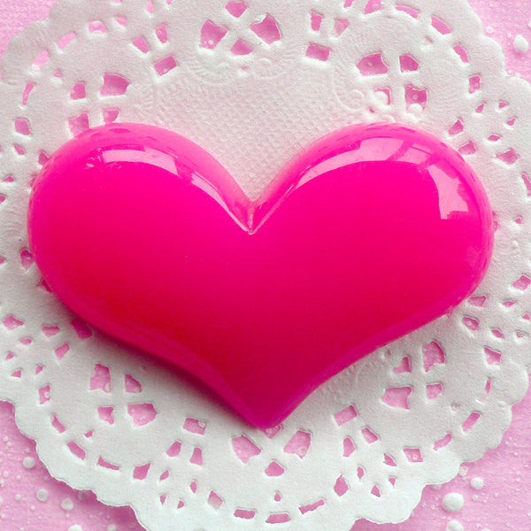 Large Cabochon Big Puffy Heart Cabochon (65mm x 44mm / Dark Pink / Flatback) Phone Deco Love Embellishment Wedding Party Decoration CAB059