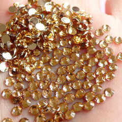 3mm Round Rhinestones | 14 Faceted Cut Resin Rhinestones (Champagne / Around 1000 pcs)