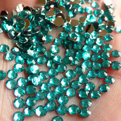 3mm Round Rhinestones | 14 Faceted Cut Resin Rhinestones (Teal Blue Green / Around 1000 pcs)