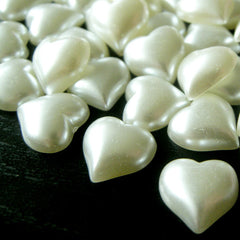 10mm Puffy Heart Pearl Flat Back / Pearlized Heart Faux Pearl Cabochons (CREAM WHITE) (around 25 pcs) PES06