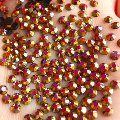3mm Round Resin Rhinestones | AB Jelly Candy Color Rhinestones in 14 Faceted Cut (AB Metallic Gold Pink / Around 1000 pcs)