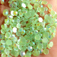 5mm Acrylic AB Rhinestones / Round Jelly Rhinestones (Acrylic / Light Green) (100pcs) RHAC507