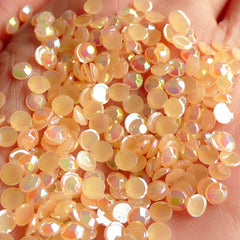 4mm Acrylic AB Rhinestones / Round Jelly Rhinestones (Acrylic / Light Orange) (150pcs) RHAC408