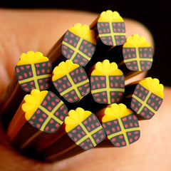Christmas Polymer Clay Cane Black Gift Box Fimo Cane Scrapbooking Earring Making Kawaii Nail Art Nail Decoration CCH22