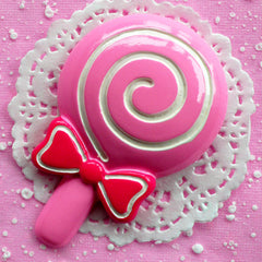 Large Lollipop Cabochon Huge Decoden Cabochon Sweet Candy Cabochon (60mm x 92mm / Pink) Kawaii Phone Decoration Cute Lolita Craft FCAB038