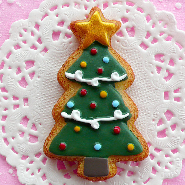 Christmas Tree Cabochon Sugar Cookie Cabochon (41mm x 67mm / Flat Back) Kawaii Decoration Christmas Ornaments Real Size Cabochon FCAB036
