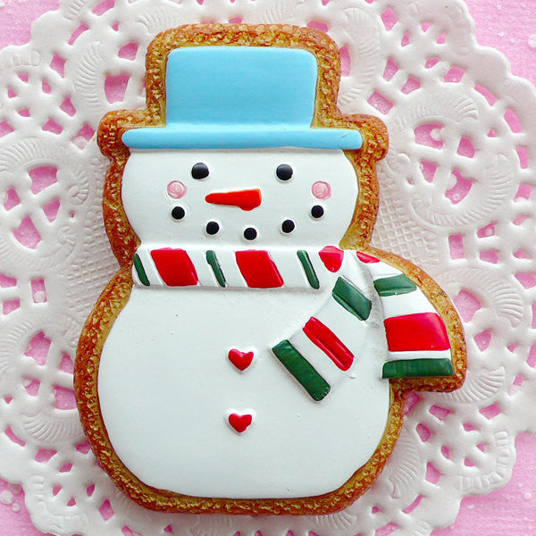 Snowman Cabochon Christmas Sugar Cookie Cabochon (50mm x 63mm / Flat Back) Kawaii Sweets Deco Christmas Scrapbook Party Decoration FCAB035
