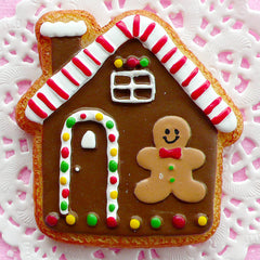 Big Christmas Cabochon Gingerbread Man House Cabochon Kawaii Sugar Cookie Cabochon (56mm x 59mm / Flatback) Christmas Embellishment FCAB034