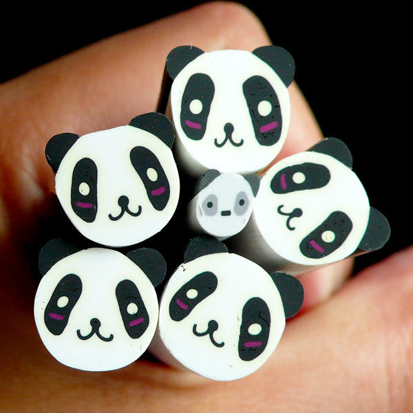 Panda Polymer Clay Cane Kawaii Animal Fimo Cane (LARGE/BIG) Kawaii Deco Scrapbooking BC21