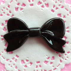 Flat Back Ribbon Cabochon Large Bow Cabochon (61mm x 34mm / Black) Jumbo Kawaii Resin Cabochon Scrapbooking Japan Decoden Supplies CAB029