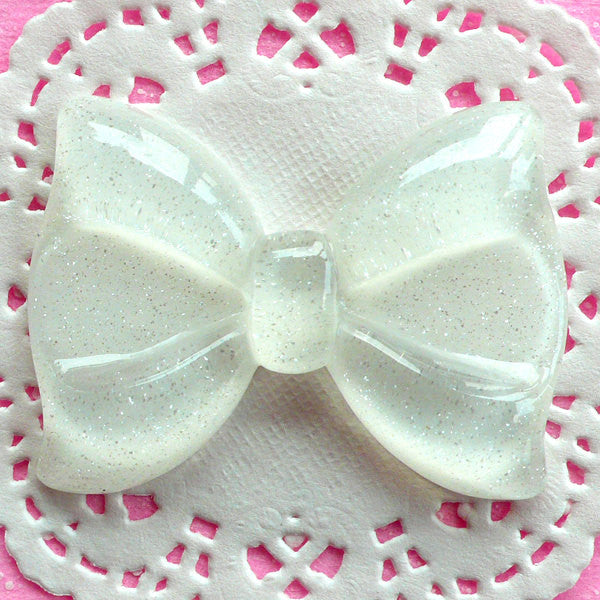Glitter Bow Cabochon Big Bowtie Cabochon (60mm x 44mm / White / Flatback) Large Decoden Cabochon Cute Decoration Kawaii Supplies CAB039