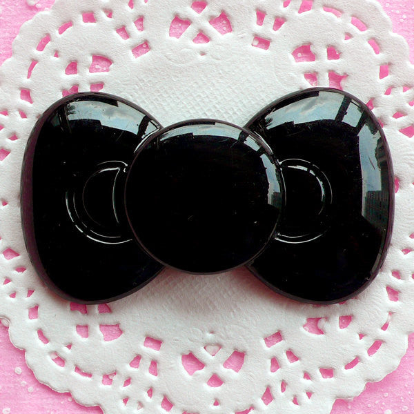 Black Bowtie Cabochon Kawaii Bow Cabochon Large Bow Tie Cabochon (65mm x 38mm / Flatback) Cell Phone Deco Gothic Lolita Decoden Piece CAB057