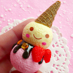 Kawaii Snowman with Ice Cream Cone Cabochon (30mm x 60mm) Christmas Decoration Fake Food Craft Faux Sweets Jewelry DIY Embellishment CAB077