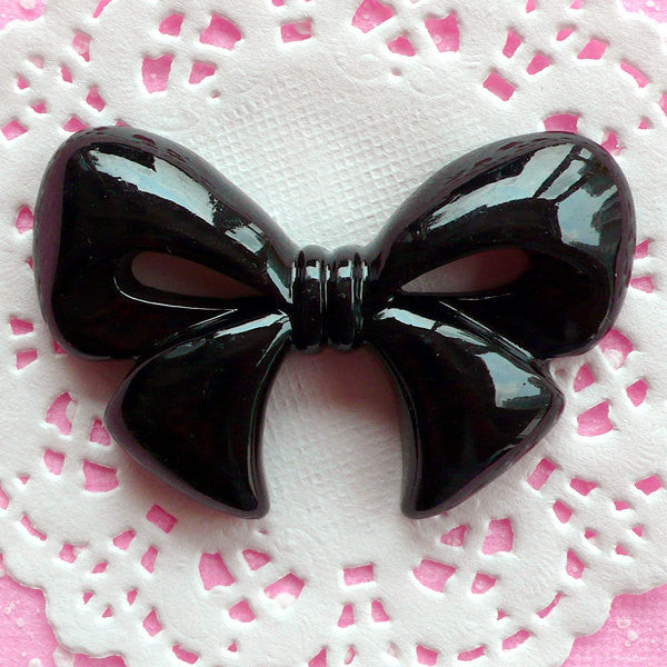 Big Ribbon Cabochon Kawaii Bow Cabochon (60mm x 39mm / Black / Flatback) Large Resin Cabochon Cellphone Decoden Piece Embellishment CAB025