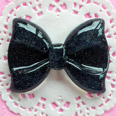 Black Bow Cabochon with Glitter (60mm x 44mm / Flatback) Giant Resin Cabochon Decoden Embellishment Glittery Bowtie Kawaii Big Cab CAB043