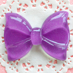 Decoden Cabochon Bow Tie with Glitter (60mm x 44mm / Purple / Flatback) Huge Bowtie Applique Scrapbooking Sweet Lolita Jewelry DIY CAB041