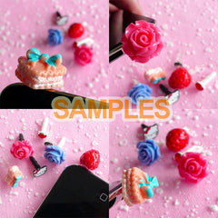 Dust Plug / Ear Phone Jack / Earphone Plug / Cellphone Dust Plug / Mobile Phone Plug (15pcs / Clear, Black, White Mix) Kawaii Decoden EJ07