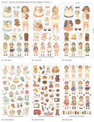 Paper Doll Mate Deco Sticker Set Afrocat (6 Sheets) Sweets Animal Doll Sticker (Transparent Ver.) Scrapbooking Gift Wrap Diary Deco S011