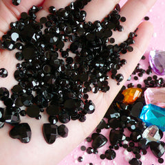 BLACK Rhinestones Mix (2mm 3mm 4mm 5mm 6mm) Round and Heart Faceted Rhinestones Cabochons Mix (Over 1000 pcs) RHM010