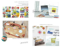 Daily Deco Sticker Set (Travel) (12 Sheets) Stamp Point Sign Message Photo Passport Tag Line Masking Sticker - Scrapbooking Gift Wrap S012