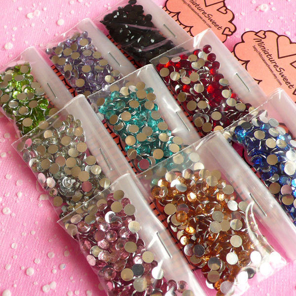 4mm Round Rhinestone Mix | Assorted 14 Faceted Cut Resin Rhinestones (Around 9000pcs / 9 colors)