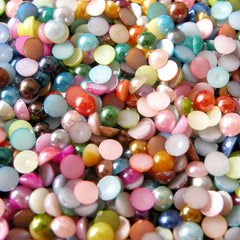 4mm Assorted Faux Pearl Cabochons Mix / Colorful Pearl Mix (Round / Half) (200-250pcs) PEMC4