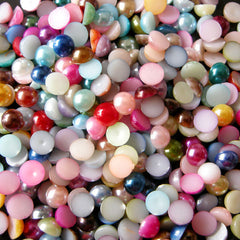 5mm Colorful Pearl Mix / Assorted Faux Pearl Cabochons Mix (Round / Half) (150pcs) PEMC5