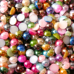 6mm Assorted Faux Pearl Cabochons Mix / Colorful Pearl Mix (Round / Half) (100pcs) PEMC6
