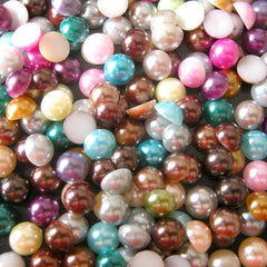 7mm Colorful Pearl Mix / Assorted Faux Pearl Cabochons Mix (Round / Half) (80pcs) PEMC7