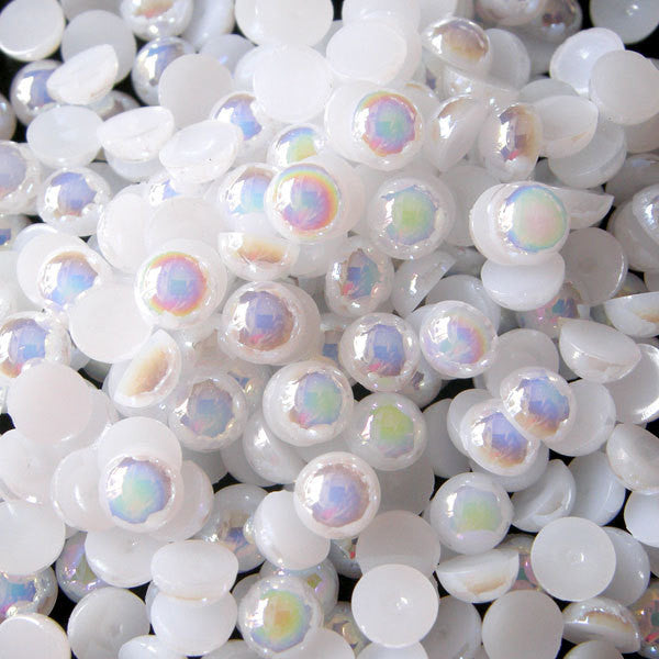 5mm AB WHITE Half Pearl Cabochons / Round Flat Back Faux Pearlized Cabochons (around 150 pcs) PEAB-W5