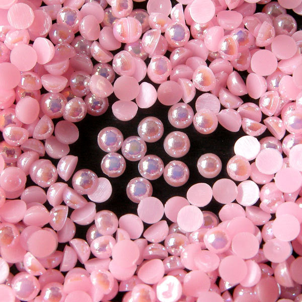 3mm AB Light Pink Half Pearl Cabochons / Round Flat Back Faux Pearlized Cabochons (around 250-300 pcs) PEAB-P3