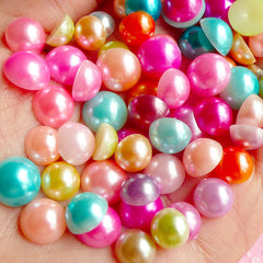 Colorful Fake Pearl Cabochons Mix (Round / Half / Assorted Colors) (8mm, 9mm and 10mm) (around 50 pcs / 9 gram) PEMC810