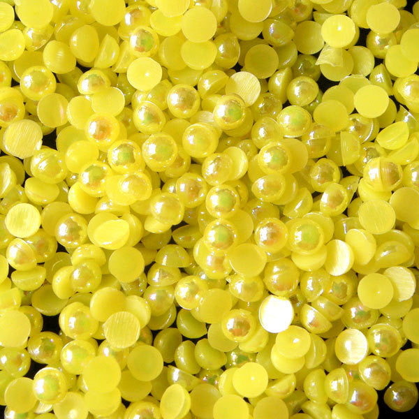 3mm AB YELLOW Half Pearl Cabochons / Round Flat Back Faux Pearlized Cabochons (around 250-300 pcs) PEAB-Y3