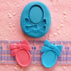 Frame Setting Mold w/ Ribbon 40mm Flexible Mold Silicone Mold Kawaii Jewelry Mold Scrapbooking Polymer Clay Resin Cell Phone Deco Mold MD649
