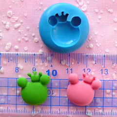 Prince Frog Mold w/ Crown 20mm Silicone Mold Flexible Mold Polymer Clay Scrapbooking Mini Cupcake Topper Fondant Kawaii Animal Mold MD695