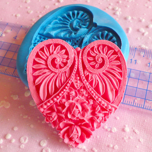 Heart Cameo Mold Butter Mold Filigree Flower Cameo Mold 50mm Flexible Mold Silicone Mold Fondant Mold Scrapbooking Mold Resin Mold MD603