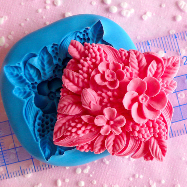 Square Flower Cameo Mold 36mm Silicone Mold Flexible Mold Jewelry Cabochon Resin Cake Deco Butter Mold Cupcake Topper Scrapbooking MD602