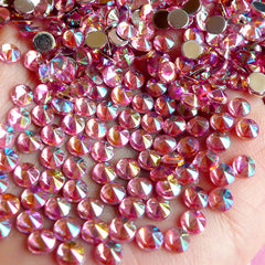 AB Pink TIP TOP Faceted Rhinestones (4mm) (Around 150 pcs) Cell Phone Decoration, Jewelry Making, Scrapbooking, Nail Deco RHTT401