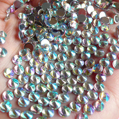 AB Clear TIP TOP Faceted Rhinestones (4mm) (Around 150 pcs) Cell Phone Decoration, Jewelry Making, Scrapbooking, Nail Deco RHTT400