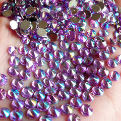 AB Purple TIP TOP Faceted Rhinestones (4mm) (Around 150 pcs) Cell Phone Decoration, Jewelry Making, Scrapbooking, Nail Deco RHTT402
