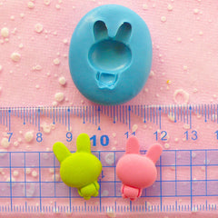 Rabbit Bunny Mold 21mm Silicone Mold Flexible Mold Mini Cupcake Topper Mold Fondant Fimo Polymer Clay Resin Mold Animal Cabochon Mold MD442