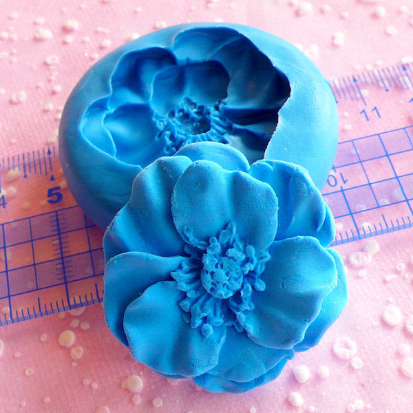 Flower Mold 39mm Silicone Mold Flexible Mold Cupcake Topper Mold Fondant Gum Paste Cake Decoration Mold Polymer Clay Resin Wax Mold MD599